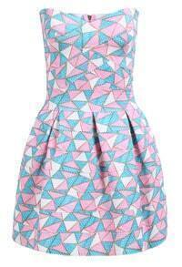 Pink Strapless Argyle Triangle Geometric Print Flare Dress