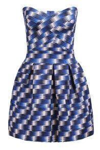 Blue Strapless Geometric Print Flare Dress