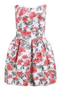 Red Strapless Rose Print Flare Dress