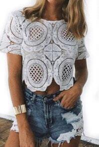 White Hollow Floral Crochet Crop Blouse