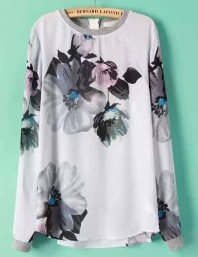 White Long Sleeve Floral Chiffon Blouse
