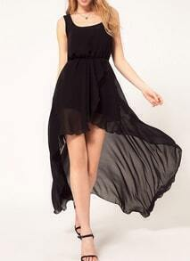 Black Uneven Sleeveless High Low Chiffon Fishtail Flapper Dress
