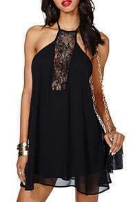 Black Halter Open Back Lace Sheer Dress