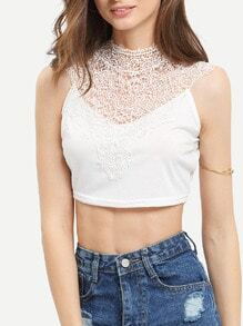 White Lace Backless Crop Tank Top