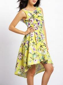 Yellow Uneven Chikan Backless Patterns Damask Floral Print High Low Dress