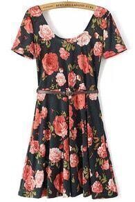Black Scoop Neck Backless Floral Slim Dress