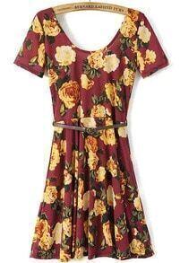 Red Scoop Neck Backless Floral Slim Dress