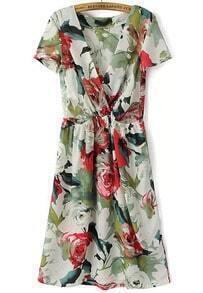 Multicolor V Neck Floral Chiffon Dress
