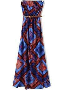 Multicolor Strapless Geometric Print Maxi Dress