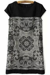 Black Cap Sleeve Lace Straight Dress