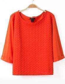 Orange Round Neck Crop Loose Blouse