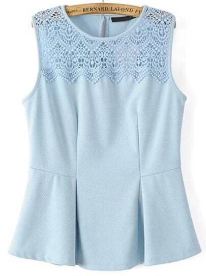 Blue Sleeveless Hollow Lace Ruffle Tank Top