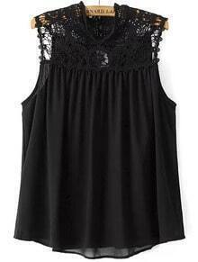 Black Sleeveless Hollow Chiffon Blouse