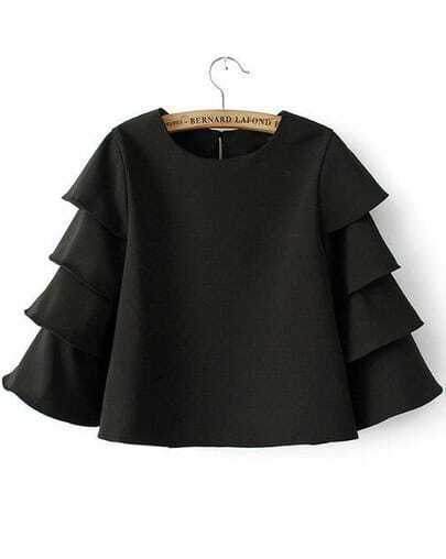 Black Round Neck Cascading Ruffle Crop Blouse
