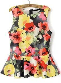 Multicolor Sleeveless Floral Ruffle Blouse