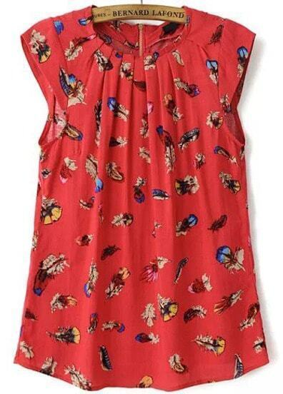 Red Sleeveless Feather Print Blouse