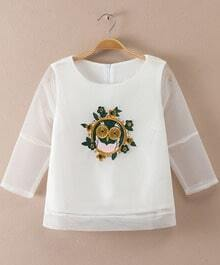 White Sheer Mesh Embroidered Crop Sweatshirt