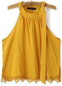 Yellow Off the Shoulder Lace Hem Tank Top