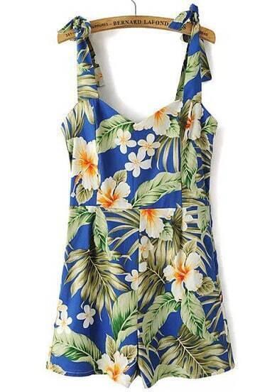 Blue Strap Floral Backless Slim Jumpsuit