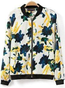 White Stand Collar Floral Loose Jacket