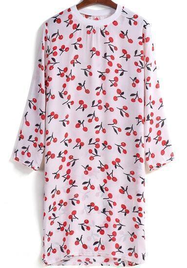 White Round Neck Long Sleeve Cherry Print Loose Dress
