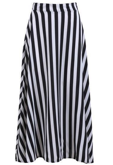 Black Striped Pleated Skirt