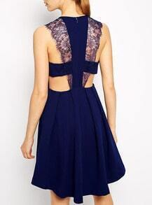 Blue Crossback Sleeveless With Lace Pleated Dress