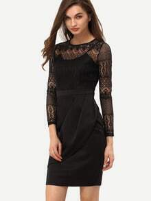 Black Long Sleeve Luxury Deluxe With Lace Dress