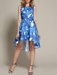 Blue Sleeveless Leaves Print Dress