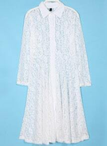 White Lapel Long Sleeve Lace Pleated Dress