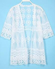 White Half Sleeve Sheer Lace Blouse