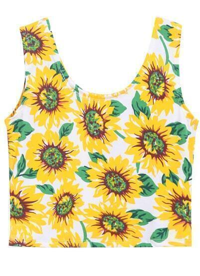 Yellow Sunflowers Print Crop Tank Top