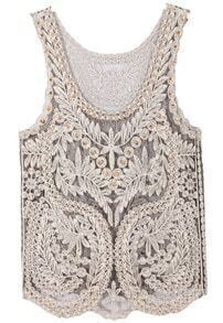 Gold Scoop Neck Embroidered Lace Tank Top