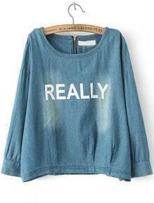 Blue Long Sleeve Bleached REALLY Print Blouse