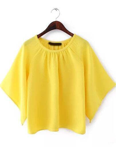 Yellow Round Neck Batwing Loose Blouse