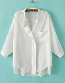 White Stand Collar Pocket Dip Hem Blouse