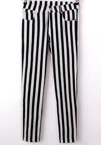 Black White Vertical Stripe Pockets Pant