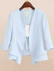 Blue V Neck Ruffle Crop Blazer