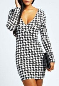 Black Deep Plunge Neck Houndstooth Bodycon Dress