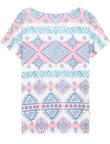 White Round Neck Tribal Print Loose T-Shirt