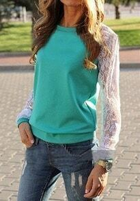 Green Contrast Lace Long Sleeve Loose Sweatshirt