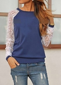 Blue Contrast Lace Long Sleeve Loose Sweatshirt