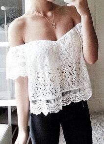 White Off The Shoulder Lace Crop Blouse