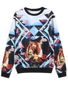 Blue Round Neck Floral Lion Print Sweatshirt