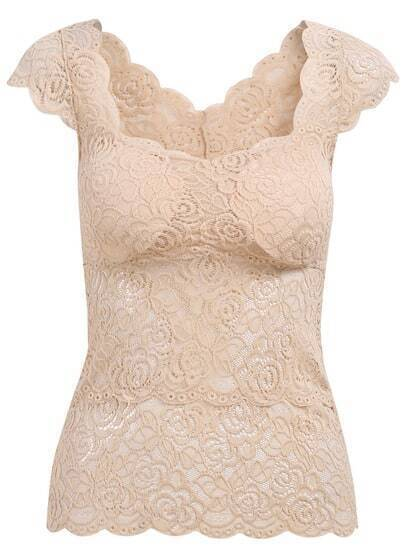 Apricot Cap Sleeve Lace Slim Blouse