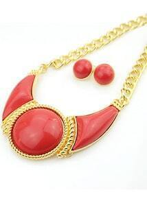 Red Gemstone Gold Necklace With Earrings