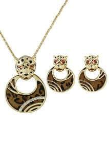 Gold Leopard Head Necklace With Earrings