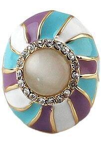 Colorblock Round Diamond Ring