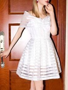 White Off The Shoulder Dolly Striped Dress