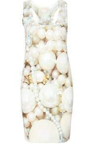 White Scoop Neck Pearls Print Slim Dress